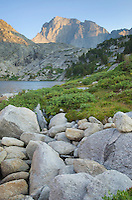 Deep Lake and Temple Peak, Bridger Wilderness in the Wind River Range of the Wyoming Rocky Mountains