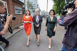 © Licensed to London News Pictures . 16/09/2019. Bournemouth, UK. Party leader JO SWINSON (l) and Shadow Education Secretary LAYLA MORAN (r) with college Principal DIANE GRANNELL during a visit Bournemouth College STEM Centre, which trains apprentices for industry, during the Liberal Democrat Party Conference at the Bournemouth International Centre . Photo credit: Joel Goodman/LNP