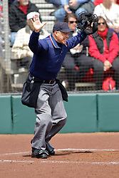 22 April 2017:  Foul ball calls home plate umpire Sergio Villarreal during a Missouri Valley Conference (MVC) women's softball game between the Missouri State Bears and the Illinois State Redbirds on Marian Kneer Field in Normal IL