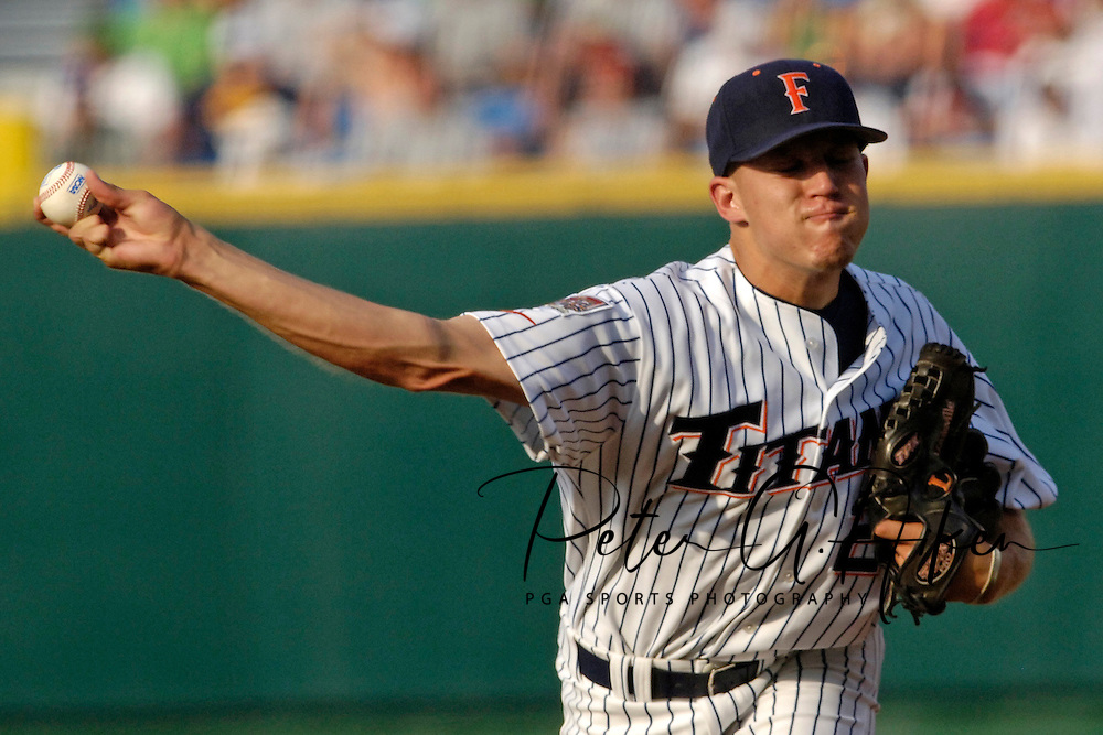 Cal State Fullerton starting pitcher Wes Roemer pitched eight innings, giving up five runs on nine hits against North Carolina.  The North Carolina Tar Heels defeated Cal State Fullerton in 13 innings 7-5 in the second game of the College World Series at Rosenblatt Stadium in Omaha, Nebraska, June 16, 2006.