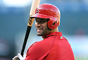 ANAHEIM, CA - APRIL 16:  Albert Pujols #5 of the Los Angeles Angels of Anaheim laughs during batting practice before the game against the Oakland Athletics at Angel Stadium on Wednesday, April 16, 2014 in Anaheim, California. The Angels won the game 5-4 in 12 innings. (Photo by Paul Spinelli/MLB Photos via Getty Images) *** Local Caption *** Albert Pujols
