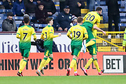 Norwich City defender Grant Hanley (5) celebrates his goal  during the The FA Cup match between Burnley and Norwich City at Turf Moor, Burnley, England on 25 January 2020.