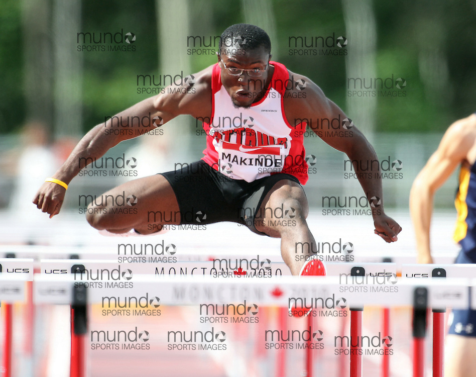(Moncton,  New Brunswick) --- .Oluwaseguin Makinde110H-002_0710CA.jpg at the 2010 Canadian Junior Track and Field championships in Moncton, New Brunswick July 04 ,  2010)... Photograph copyright Claus Andersen / Mundo Sport Images, 2010.