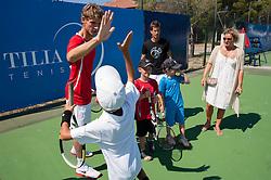 Blaz Rola of Slovenia and Aljaz Bedene of Slovenia at Kids day during Day Five of tennis tournament ATP Challenger Tilia Slovenia Open 2013 on July 6, 2013 in SRC Marina, Portoroz / Portorose, Slovenia. (Photo by Vid Ponikvar / Sportida.com)