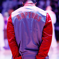 30 November 2014: A Toronto Raptors player stands during the national anthem prior to the Los Angeles Lakers 129-122 overtime victory over the Toronto Raptors, at the Staples Center, Los Angeles, California, USA.