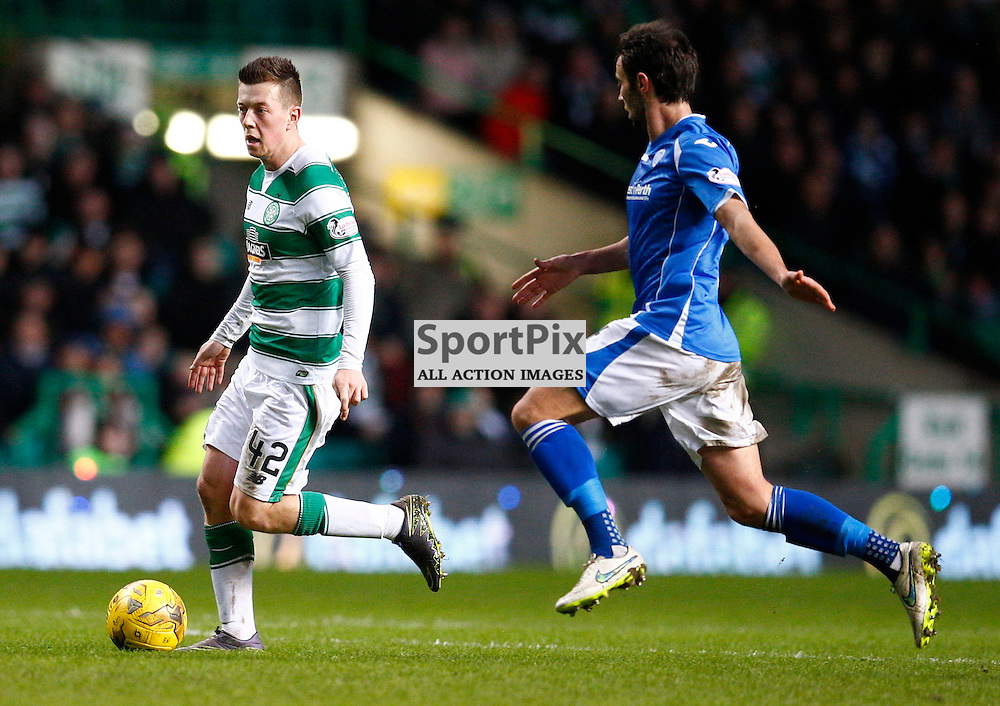 Celtic v St.Johnstone in the Ladbrokes Premiership....Callum McGregor and Joe Shaughnessy battle for the ball .....(c) STEPHEN LAWSON | SportPix.org.uk