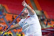 Marcin Krukowski competes in men's javelin throw qualification during the 14th IAAF World Athletics Championships at the Luzhniki stadium in Moscow on August 15, 2013.<br /> <br /> Russian Federation, Moscow, August 15, 2013<br /> <br /> Picture also available in RAW (NEF) or TIFF format on special request.<br /> <br /> For editorial use only. Any commercial or promotional use requires permission.<br /> <br /> Mandatory credit:<br /> Photo by &copy; Adam Nurkiewicz / Mediasport