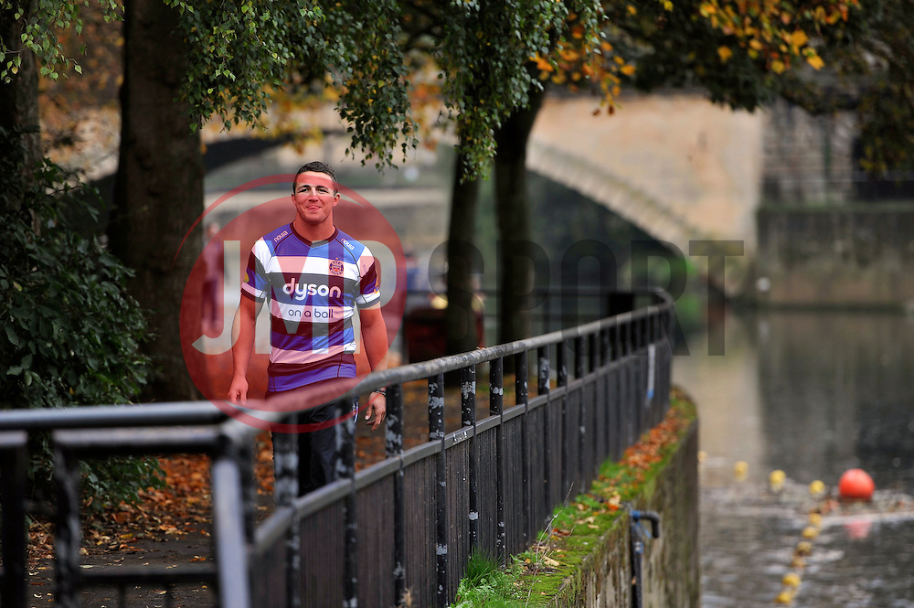 New arrival and rugby league convert Sam Burgess looks on during a Bath Rugby photocall at the Recreation Ground - Photo mandatory by-line: Patrick Khachfe/JMP - Mobile: 07966 386802 30/10/2014 - SPORT - RUGBY UNION - Bath - The Recreation Ground - Bath Rugby Photocall with Sam Bugess