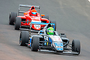 Louis Foster (GBR) of Double R Racing exits Butchers, closely followed by Bart Horsten (AUS) of Arden Motorsport during Round 23 of the FIA Formula 4 British Championship at Knockhill Racing Circuit, Dunfermline, Scotland on 15 September 2019.