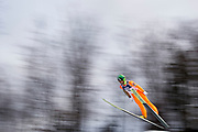 Poland, Wisla Malinka - 2017 November 19: Janne Ahonen from Finland soars through the air while Men&rsquo;s Individual HS134 competition during FIS Ski Jumping World Cup Wisla 2017/2018 - Day 3 at jumping hill of Adam Malysz on November 19, 2017 in Wisla Malinka, Poland.<br /> <br /> Mandatory credit:<br /> Photo by &copy; Adam Nurkiewicz<br /> <br /> Adam Nurkiewicz declares that he has no rights to the image of people at the photographs of his authorship.<br /> <br /> Picture also available in RAW (NEF) or TIFF format on special request.<br /> <br /> Any editorial, commercial or promotional use requires written permission from the author of image.