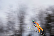 Poland, Wisla Malinka - 2017 November 19: Janne Ahonen from Finland soars through the air while Men's Individual HS134 competition during FIS Ski Jumping World Cup Wisla 2017/2018 - Day 3 at jumping hill of Adam Malysz on November 19, 2017 in Wisla Malinka, Poland.<br /> <br /> Mandatory credit:<br /> Photo by © Adam Nurkiewicz<br /> <br /> Adam Nurkiewicz declares that he has no rights to the image of people at the photographs of his authorship.<br /> <br /> Picture also available in RAW (NEF) or TIFF format on special request.<br /> <br /> Any editorial, commercial or promotional use requires written permission from the author of image.