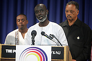 September 19, 2012- Queens, New York:  Former Prisoner Tamsir Jasseh at Jesse Jackson's Press Conference as a free man after being held as a prisoner in the Gambia, West Africa. Former Prisoner Amadou Scattred Janneh, a former Professor at the University of Tennessee, who held dual US Citizenship with the Gambia, was serving a life sentence for Treason. In addition to him, Tamsir Jessah, a U.S Citizen and former U.S. Military Veteran with dual citizenship with the West African nation was also serving a twenty-year sentence for Treason. With a face-to-face appeal by Rev. Jesse L. Jackson, with the Yayha Jammeh, President of The Gambia an agreement was made to release the two American citizens into Rev. Jackson's custody who allow them to return to the United States with Jackson Tuesday night.  The two men returned to the U.S. by plane with Rev. Jackson from The Gambia to joyfully grateful waiting family members. In addition, President Jammeh has agreed to extend the moritorium on executions indefinitely, marking a significant gain for Human Rights in the West African Nation on September 19, 2012. (Terrence Jennings)
