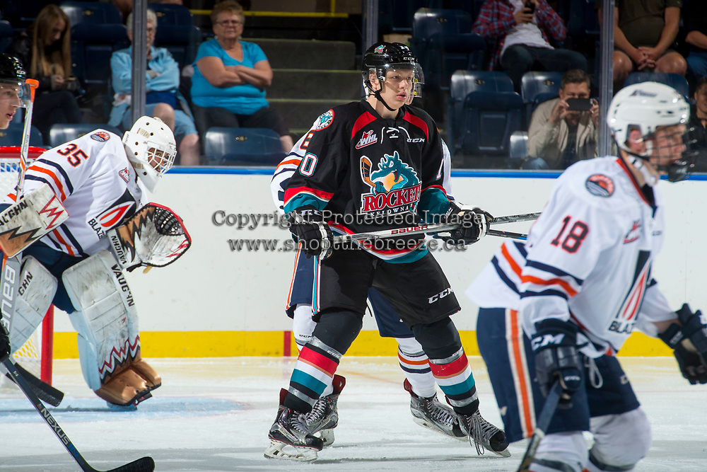 KELOWNA, CANADA - SEPTEMBER 5: Ted Brennan #10 of the Kelowna Rockets stands on the ice against the Kamloops Blazers on September 5, 2017 at Prospera Place in Kelowna, British Columbia, Canada.  (Photo by Marissa Baecker/Shoot the Breeze)  *** Local Caption ***