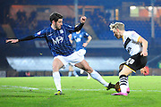 Michael Timlin of Southend United and AJ Leitch-Smith of Port Vale during the Sky Bet League 1 match between Port Vale and Southend United at Vale Park, Burslem, England on 26 February 2016. Photo by Mike Sheridan.