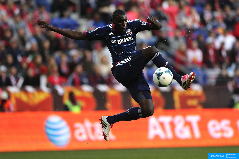 Bakary Soumare, Chicago Fire, in action during the New York Red Bulls V Chicago Fire, Major League Soccer regular season match at Red Bull Arena, Harrison, New Jersey. USA. 27th October 2013. Photo Tim Clayton