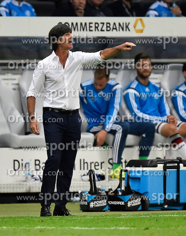 04.09.2015, Commerzbank Arena, Frankfurt, GER, UEFA Euro Qualifikation, Deutschland vs Polen, Gruppe D, im Bild Nationaltrainer Trainer Coach Joachim Jogi Loew (GER) am Spielfeldrand Gestik, Geste // during the UEFA EURO 2016 qualifier Group D match between Germany and Poland at the Commerzbank Arena in Frankfurt, Germany on 2015/09/04. EXPA Pictures &copy; 2015, PhotoCredit: EXPA/ Eibner-Pressefoto/ Weber<br /> <br /> *****ATTENTION - OUT of GER*****