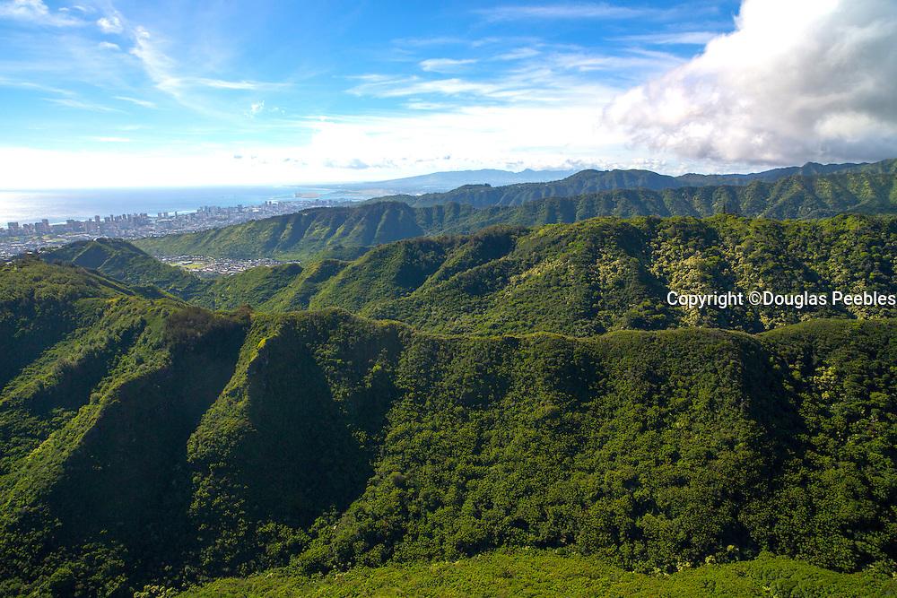 Aerial, ridges, Honolulu, Oahu, Hawaii