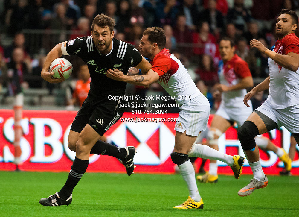Kurt Baker runs in a try during the pool stages of the 2016 Canada Sevens leg of the HSBC Sevens World Series Series at BC Place in  Vancouver, British Columbia. Saturday March 12, 2016.<br /> <br /> Jack Megaw<br /> <br /> www.jackmegaw.com<br /> <br /> 610.764.3094<br /> jack@jackmegaw.com