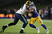 Los Angeles Rams outside linebacker Clay Matthews (52) rushes against Seattle Seahawks offensive tackle George Fant (74) during an NFL football game, Sunday, Dec. 8, 2019, in Los Angeles, Calif. The Rams defeated the Seahawks 28-12. (Peter Klein/Image of Sport)