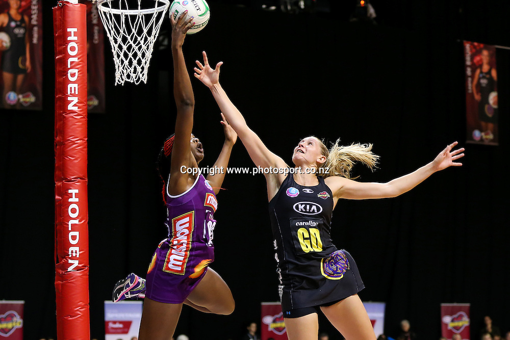 Queensland Firebird's Romelda Aiken and Waikato BOP Magic captain Casey Kopua in action during the ANZ Championship netball match - Waikato BOP Magic v Queensland Firebirds at Claudelands Arena, Hamilton, New Zealand on Monday 2 June 2014.  Photo:  Bruce Lim / www.photosport.co.nz
