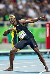 14.08.2016, Olympic Stadium, Rio de Janeiro, BRA, Rio 2016, Olympische Sommerspiele, 100m, Finale, Herren, im Bild Usain Bolt (JAM) // Usain Bolt of Jamaica during the Men's 100m Final of the Rio 2016 Olympic Summer Games at the Olympic Stadium in Rio de Janeiro, Brazil on 2016/08/14. EXPA Pictures © 2016, PhotoCredit: EXPA/ Johann Groder
