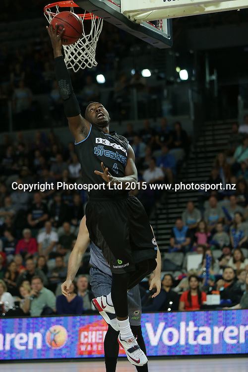 Breakers` Cedric Jackson scores a basket in an ANBL Basketball Match, New Zealand Breakers v Townsville Crocodiles, Vector Arena, Auckland, New Zealand, Sunday, October 11, 2015. Copyright photo: David Rowland / www.photosport.nz
