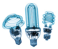 X-ray image of three compact fluorescent lamps (blue on white) by Jim Wehtje, specialist in x-ray art and design images.