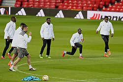 MANCHESTER, ENGLAND - Wednesday, March 16, 2016: Liverpool's Kolo Toure, Mamadou Sakho and Divock Origi during a training session at Old Trafford ahead of the UEFA Europa League Round of 16 2nd Leg match against Manchester United. (Pic by David Rawcliffe/Propaganda)