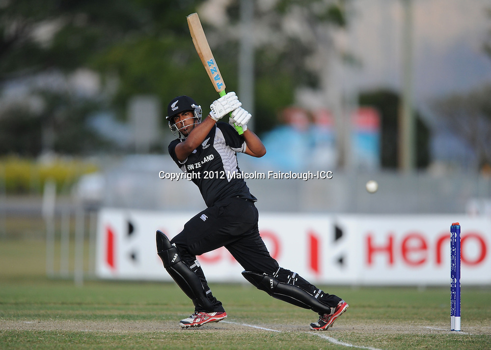 TOWNSVILLE, AUSTRALIA - AUGUST 20:  Ish Sodhi of New Zealand hits 4 runs during the ICC U19 Cricket World Cup 2012 Quarter Final match between New Zealand and the West Indies at Endeavour Park on August 20, 2012 in Townsville, Australia.  (Photo by Malcolm Fairclough-ICC/Getty Images)