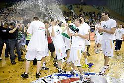 Saso Ozbolt and Aleksej Nesovic celebrate at third finals basketball match of Slovenian Men UPC League between KK Union Olimpija and KK Helios Domzale, on June 2, 2009, in Arena Tivoli, Ljubljana, Slovenia. Union Olimpija won 69:58 and became Slovenian National Champion for the season 2008/2009. (Photo by Vid Ponikvar / Sportida)