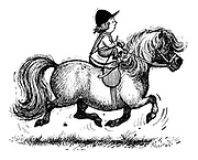 (A little girl on a trotting horse kept in the saddle by baby reins)
