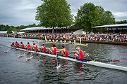 Henley Royal Regatta, 3-7 July 2019. Scotch College, Melbourne, Australia, AUS (bottom) leading <br /> St. Paul's School, (top), as they pass the Grandstands, in their Semi-Final, of the Princess Elizabeth Challenge Cup, Royal Henley Peace Regatta Centenary, 1919-2019. Henley on Thames.<br /> <br /> <br /> <br /> [Mandatory Credit: Patrick WHITE/Intersport Images], 6, 06/07/2019,  15:41:47