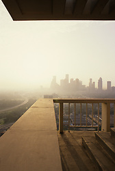 Stock photo of the view of the Houston skyline through the fog from a distance