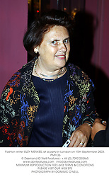 Fashion writer SUZY MENKES, at a party in London on 10th September 2003.<br /> PMH 36