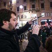 Torino 11/01/2014 Matteo Salvini fotografa con il suo Ipad la fiaccolata promossa dalla Lega Nord per protestare contro la sentenza del Tar di ieri che ha annullato le elezioni regionali del 2010 che decretarono la vittoria di Roberto Cota e della maggioranza di centrodestra.