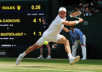 Tennis - 2019 Wimbledon Championships - Week Two, Friday (Day Eleven)<br /> <br /> Men's Singles, Semi-Final: Novak Djokovic (SRB) vs. Roberto Bautista Agut (ESP)<br /> <br /> Roberto Bautista Agut, on Centre Court.<br /> <br /> COLORSPORT/ANDREW COWIE