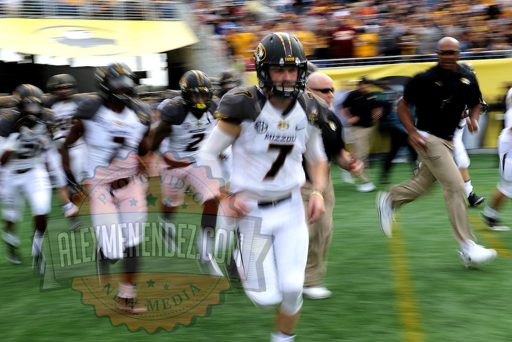 ORLANDO, FL - JANUARY 01: Maty Mauk #7 of the Missouri Tigers runs onto the field after a halftime break during the Buffalo Wild Wings Citrus Bowl against the Minnesota Golden Gophers at the Florida Citrus Bowl on January 1, 2015 in Orlando, Florida. (Photo by Alex Menendez/Getty Images) *** Local Caption *** Maty Mauk