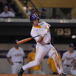 09 June 2008:  Micah Gibbs of LSU connects for an RBI double in the bottom of the fifth inning extending the Tigers lead to 11-2 over UC Irvine. The LSU Tigers advanced to the College World Series with a 21-7 victory over the UC Irvine Anteaters in game three of the NCAA Baseball Baton Rouge Super Regional Alex Box Stadium in Baton Rouge, LA..