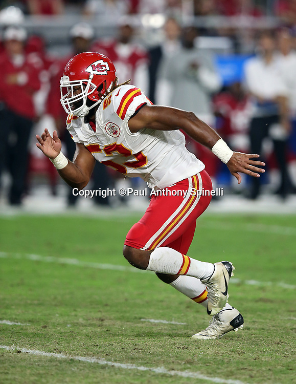 Kansas City Chiefs outside linebacker Ramik Wilson (53) chases the action during the 2015 NFL preseason football game against the Arizona Cardinals on Saturday, Aug. 15, 2015 in Glendale, Ariz. The Chiefs won the game 34-19. (©Paul Anthony Spinelli)