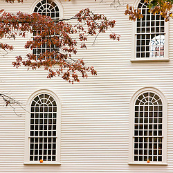 Pumpkins on church windows, Newport, Rhode Island.
