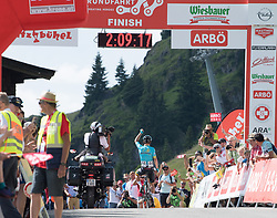 06.07.2017, Kitzbühel, AUT, Ö-Tour, Österreich Radrundfahrt 2017, 4. Etappe von Salzburg auf das Kitzbüheler Horn (82,7 km/BAK), Siegerehrung, im Bild Moreno Miguel Angel Lopez (COL, Astana Pro Team) Etappensieger // Miguel Angel Lopez Moreno of Colombia (Astana Pro Team) stage winner on podium during the 4th stage from Salzburg to the Kitzbueheler Horn (82,7 km/BAK) of 2017 Tour of Austria. Kitzbühel, Austria on 2017/07/06. EXPA Pictures © 2017, PhotoCredit: EXPA/ Reinhard Eisenbauer