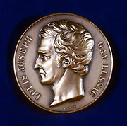 Joseph Louis Gay-Lussac (1778-1850) French physicist and chemist. From the obverse of a commemorative medal. Colour