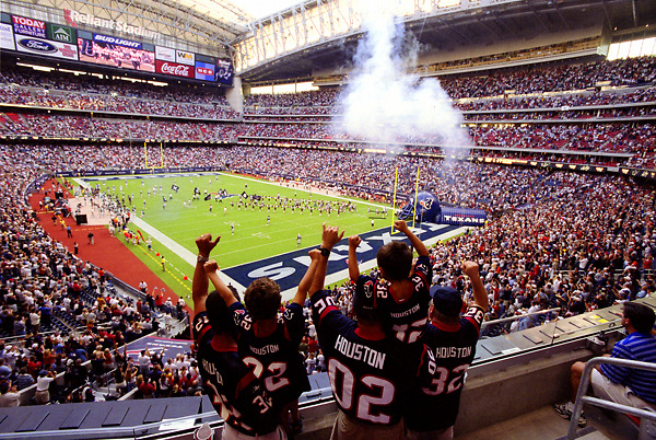 Stock photo of celebrating the first game of the Houston Texans in the Reliant Stadium.