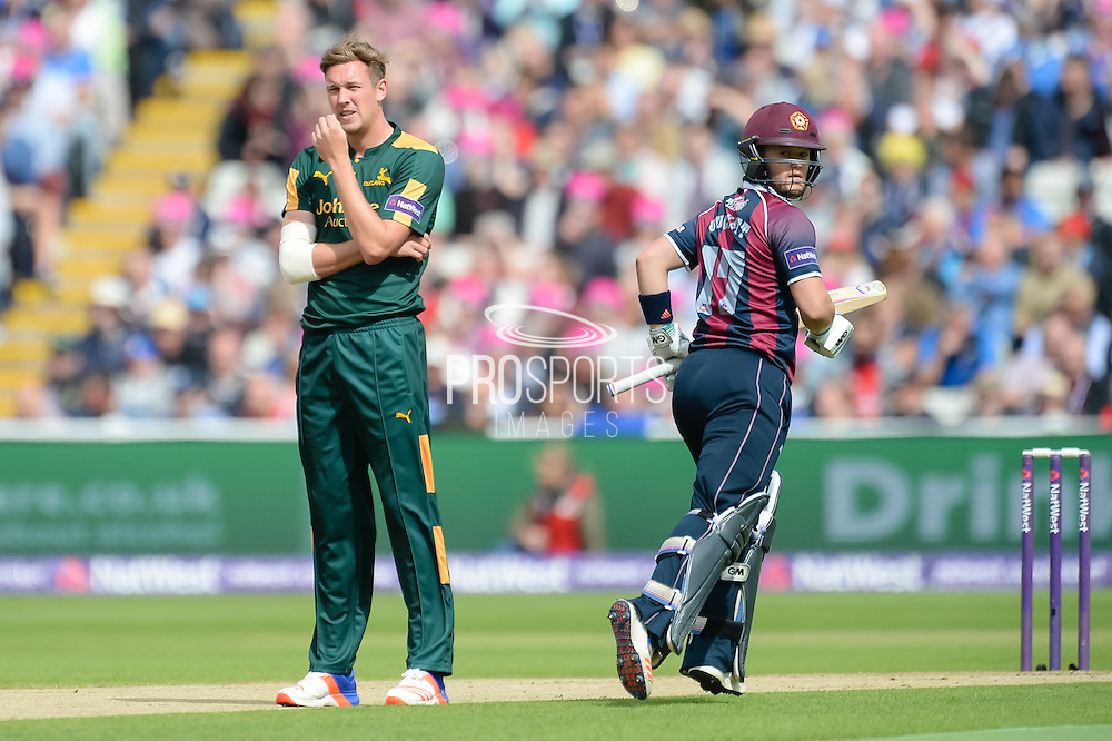 Ben Duckett of Northants Steelbacks and Jake Ball of Notts Outlaws during the NatWest T20 Blast Semi Final match between Nottinghamshire County Cricket Club and Northamptonshire County Cricket Club at Edgbaston, Birmingham, United Kingdom on 20 August 2016. Photo by David Vokes.