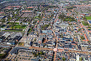 Nederland, Friesland, Gemeente Smallingerland, 01-05-2013; Drachten, centrum. Moleneind Zuidzijde (met tent in het midden) overgaand in Zuidkade (vlnr) met Noorderbuurt en Zuiderbuurt.<br /> Shopping street Moleneind and shopping  and surroundings in the center of Drachten.<br /> luchtfoto (toeslag op standard tarieven);<br /> aerial photo (additional fee required);<br /> copyright foto/photo Siebe Swart