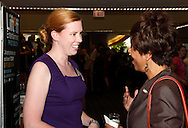 Shelby Quinlivan of The Ohlmann Group (left) and Paula Cosby of Clothes That Work during the Better Business Bureau's Eclipse Integrity Awards dinner at Sinclair Community College's Ponitz Center in downtown Dayton, Tuesday, May 14 2013.