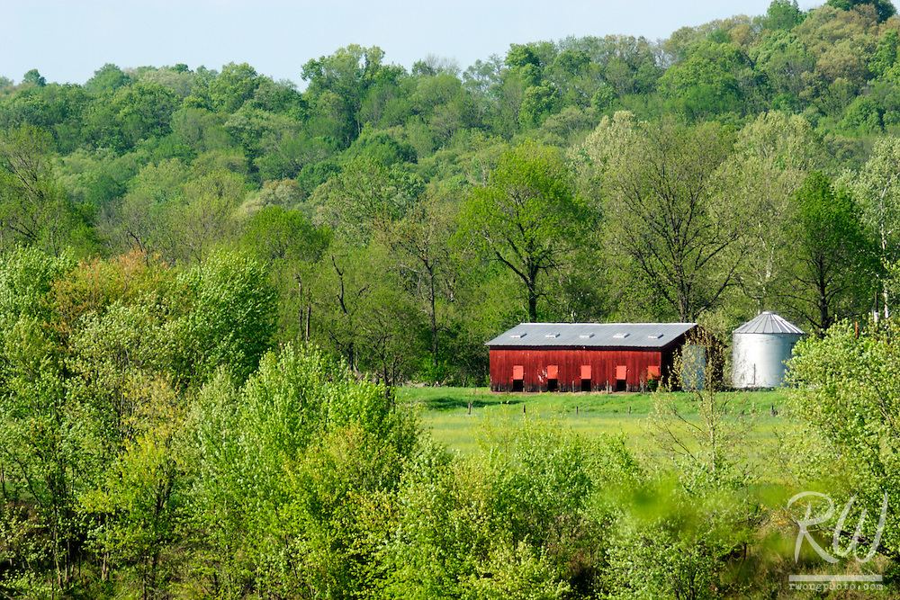 Red Barn and Grain Silo Along the Ohio River, Indiana