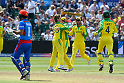 Wicket - Adam Zampa of Australia celebrates taking the wicket of Rahmat Shah of Afghanistan during the ICC Cricket World Cup 2019 match between Afghanistan and Australia at the Bristol County Ground, Bristol, United Kingdom on 1 June 2019.