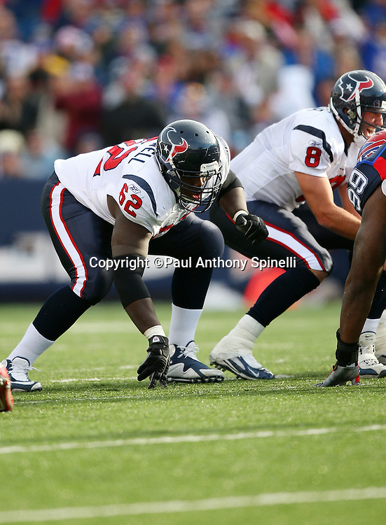 Houston Texans guard Antoine Caldwell (62) gets set for the snap at the line of scrimmage during the NFL football game against the Buffalo Bills, November 1, 2009 in Orchard Park, New York. The Texans won the game 31-10. (©Paul Anthony Spinelli)