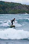 Great Lakes surfing on Lake Superior at Marquette Michigan.